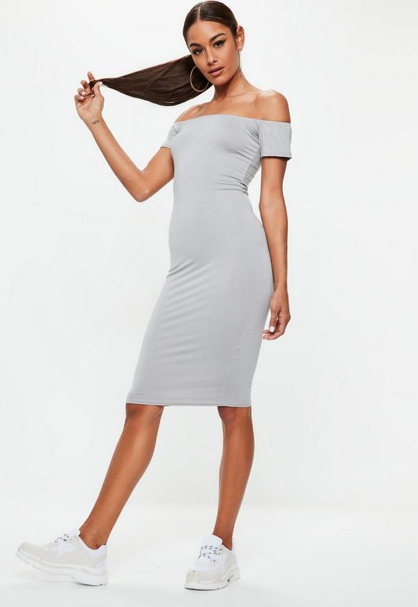 grey short sleeve bodycon midi dress missguided. Black Bedroom Furniture Sets. Home Design Ideas