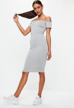 Grey Short Sleeve Bodycon Midi Dress
