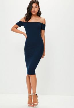 Navy Short Sleeve Bardot Bodycon Midi Dress