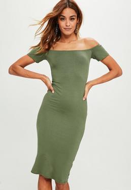 Khaki Short Sleeve Bodycon Midi Dress