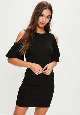Black Cold Shoulder Frill Bodycon Dress
