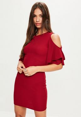 Burgundy Short Sleeve Cold Shoulder Ruffle Bodycon Dress