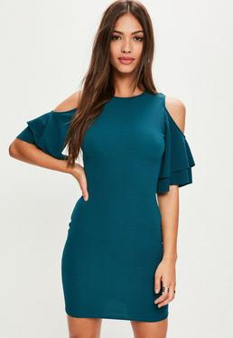 Green Cold Shoulder Ruffle Bodycon Dress