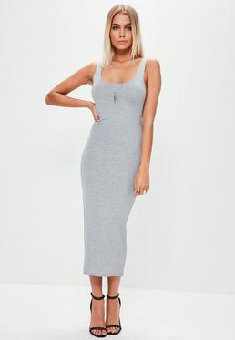 Szara sukienka midi na ramiączkach