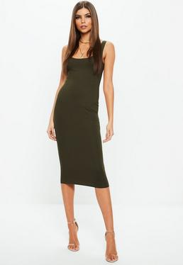 Khaki Sleeveless Scoop Neck Bodycon Midi Dress