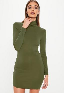 Khaki Roll Neck Dress