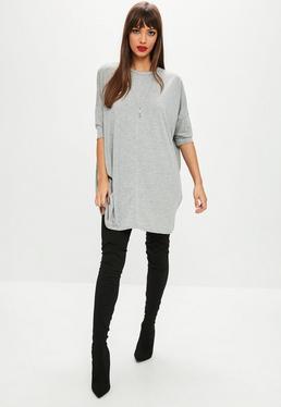 Grey Crop Sleeve Tshirt Dress