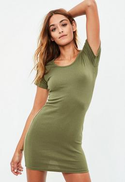Khaki Short Sleeve Ribbed Mini Dress