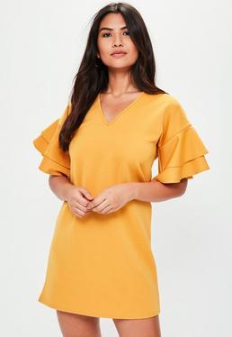 Yellow Short Sleeve Frill Mini Dress