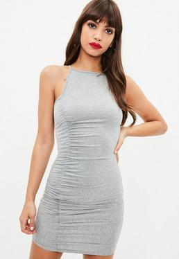 Grey Strappy High Neck Ruched Mini Dress