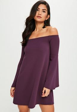Purple Flared Sleeve Mini Dress