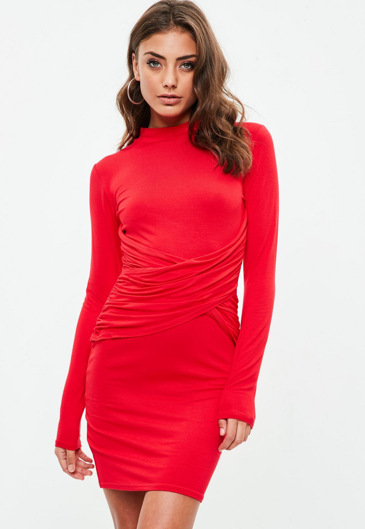 Red Long Sleeve High Neck Cross Mini Dress | Missguided Australia