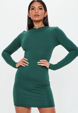 Green Long Sleeve Hooded Jersey Dress