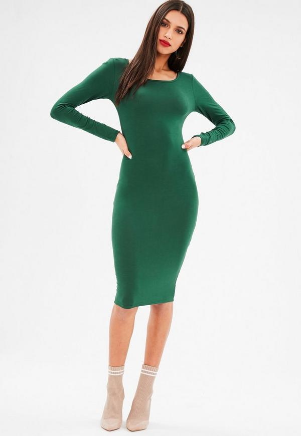 Green Long Sleeve Jersey Midi Dress Missguided