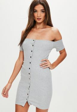Gray Ribbed Popper Front Dress