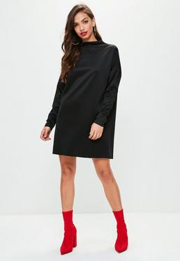 Black Scuba Sweater Dress