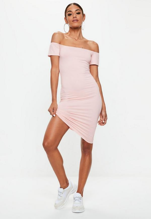 Pink Short Sleeve Bodycon Midi Dress Missguided