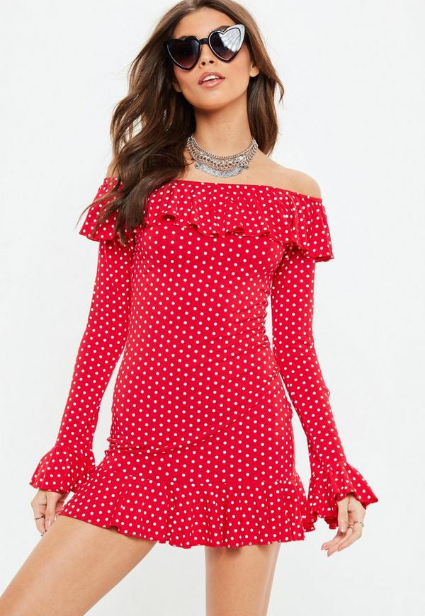 Red Polka Dot Frill Sleeve Bardot Shift Dress by Missguided