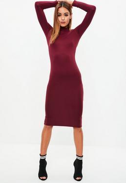 Burgundy Roll Neck Jersey Midi Dress