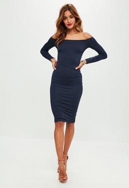 Navy Bardot Midi Dress
