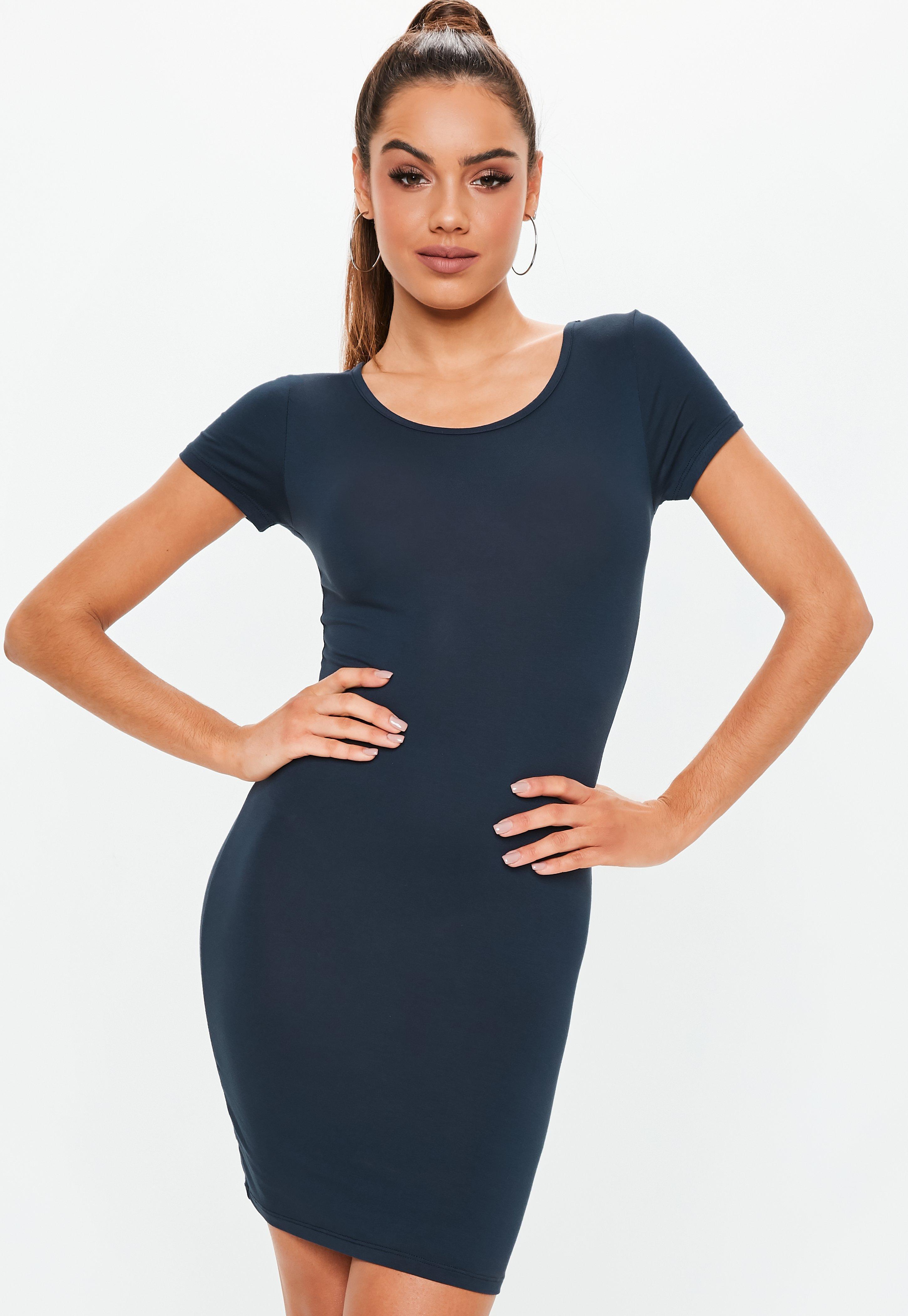 072134855d Navy Short Sleeve Bodycon Dress