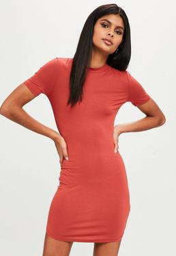 Orange Short Sleeve High Neck Curve Hem Mini Dress