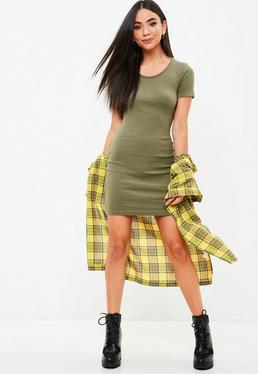 Green Short Sleeve Ribbed Mini Dress