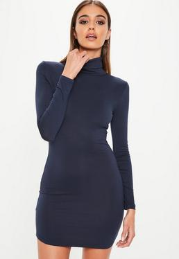 Navy Long Sleeve Roll Neck Bodycon Dress