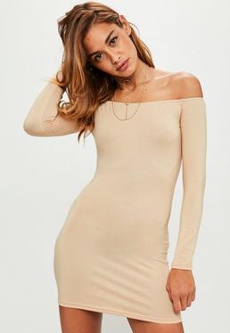 Peach Bardot Mini Dress