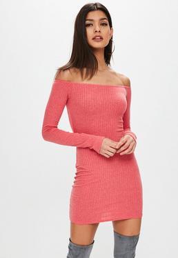 Pink Ribbed Bardot Dress