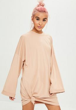 Nude Long Sleeve Tie Hem Tshirt Dress