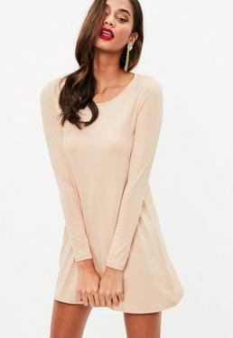 Nude Long Sleeve Swing Dress