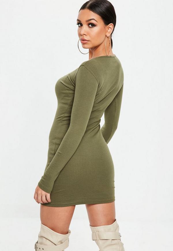 Khaki bodycon dress long sleeve