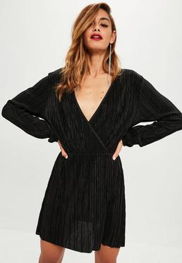 Black Pleated Wrap Skater Dress