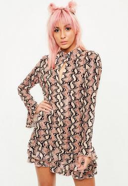 Nude Snake Print Frill Hem Dress