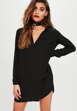 Czarna koszulowa sukienka mini