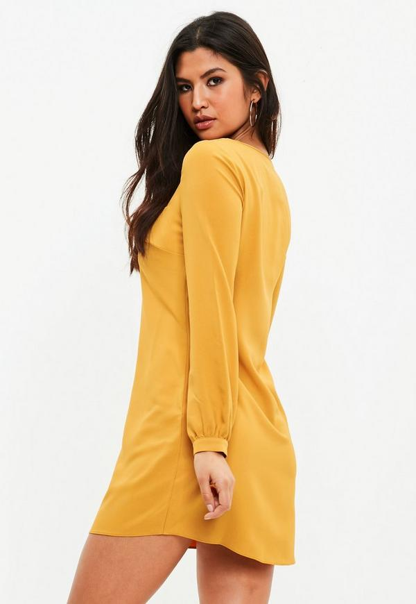 Mustard Yellow Long Sleeve Shift Dress Missguided