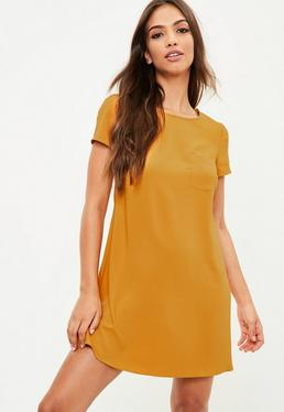 Orange Short Sleeve Swing Dress