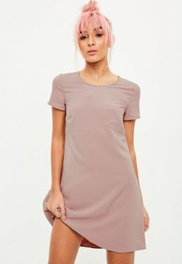 Nude Short Sleeve Swing Dress