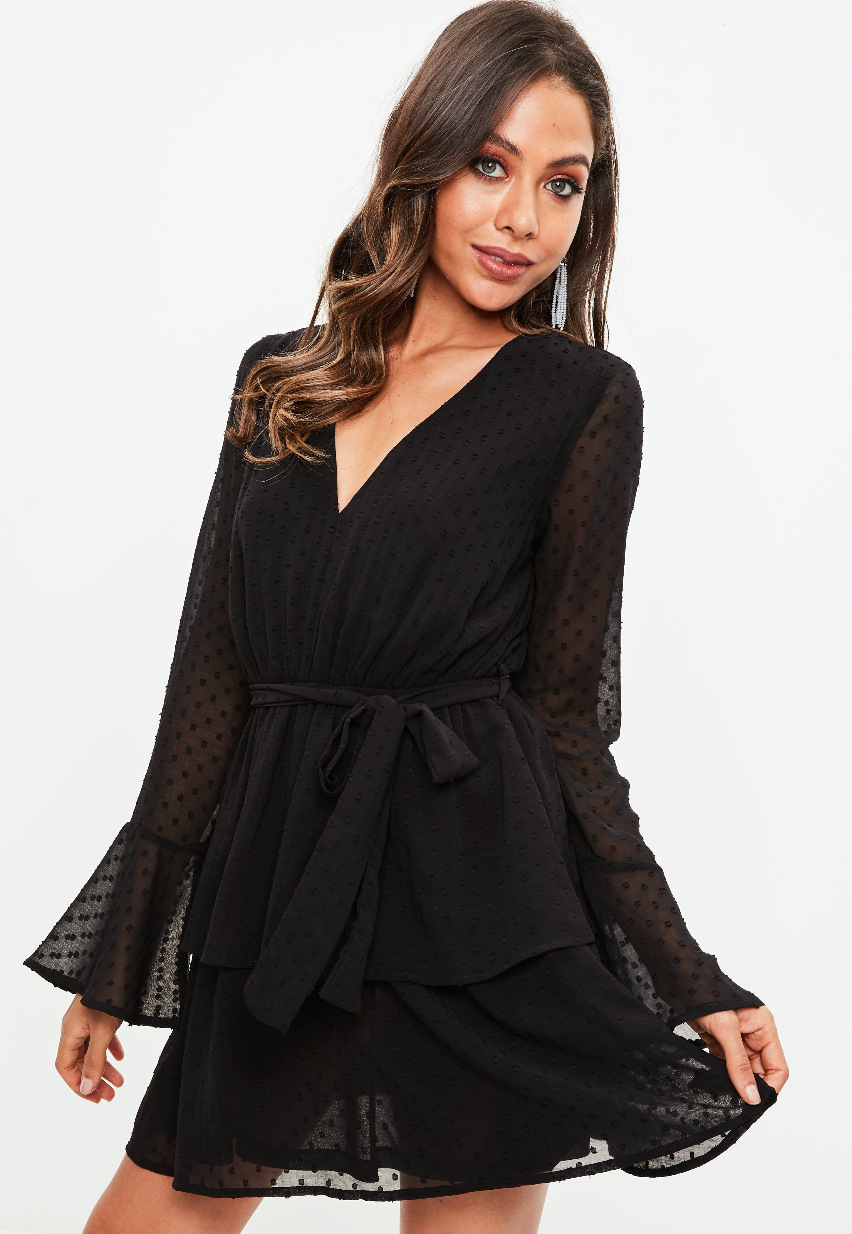 Black Dobby Mesh Tie Waist Frill Dress