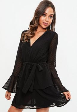 Black Dobby Mesh Tie Waist Frill Dress