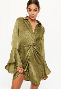 Khaki Hammered Satin Twist Waist Dress