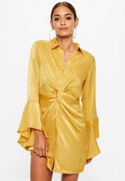 Yellow Hammered Satin Twist Waist Dress