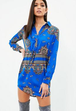 Cobalt Paisley Print Tie Waist Shirt Dress
