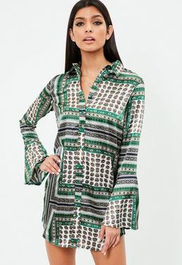 Print Satin Bell Sleeve Shirt Dress