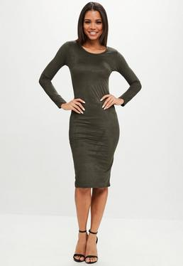 Khaki Long Sleeve Faux Suede Midi Dress