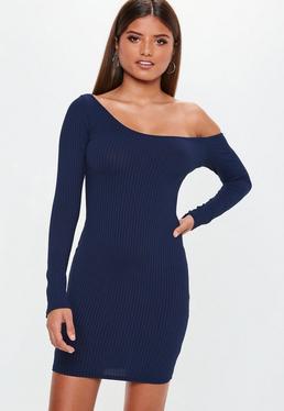 Carli Bybel x Missguided Vestido de canalé de manga larga en azul marino