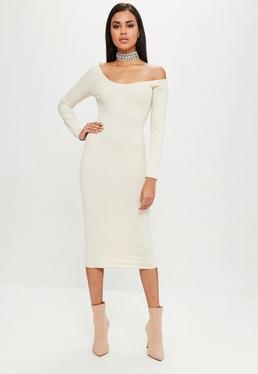 Carli Bybel x Missguided Beżowa prążkowana sukienka z długimi rękawami