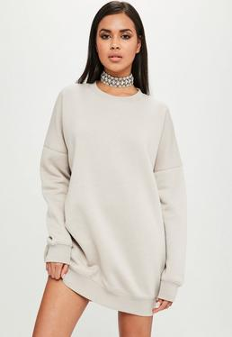 Carli Bybel x Missguided Nude Oversized Sweat Dress