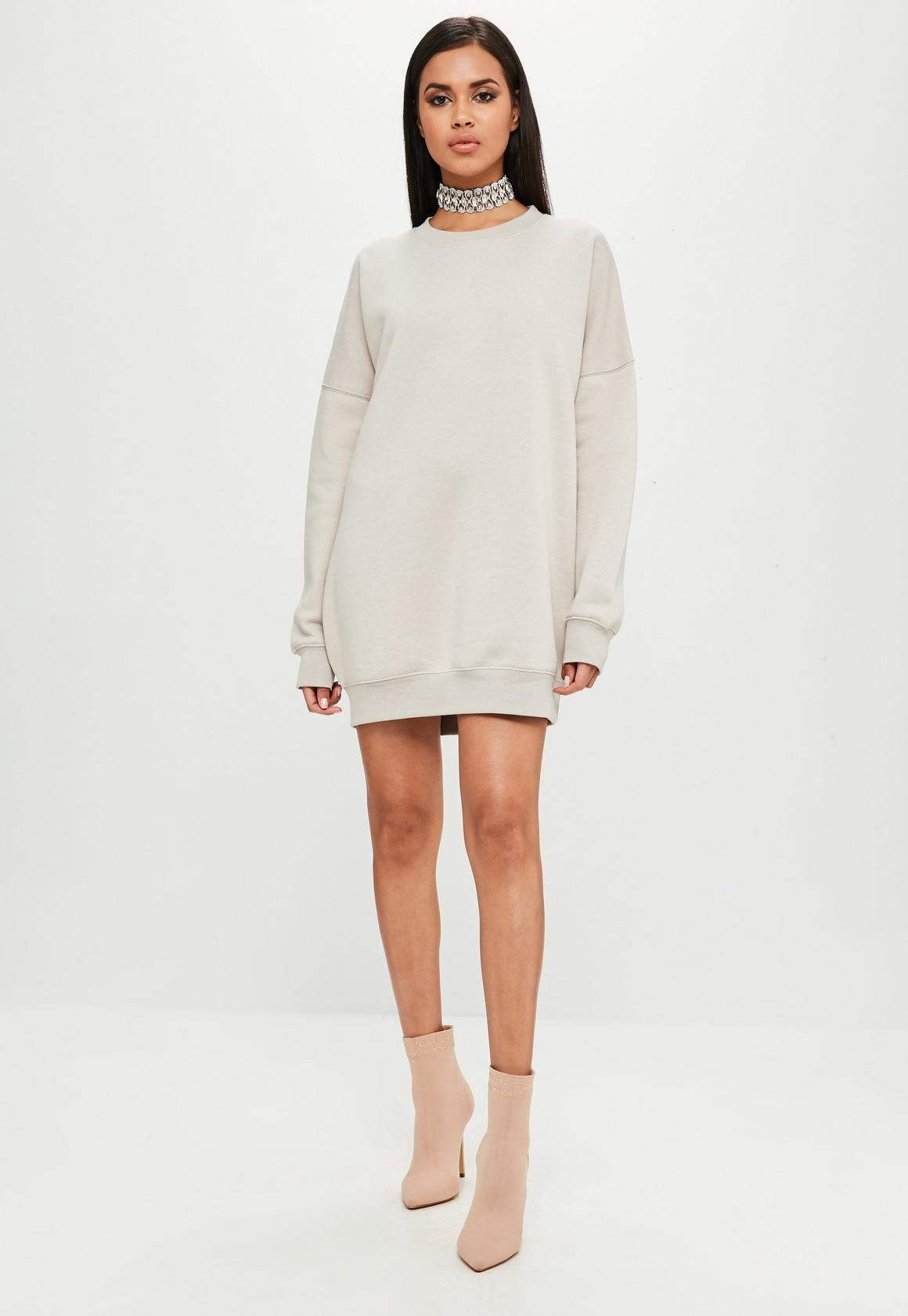 fe3e663df68 Missguided Carli Bybel x Missguided Nude Oversized Sweater Dress ...
